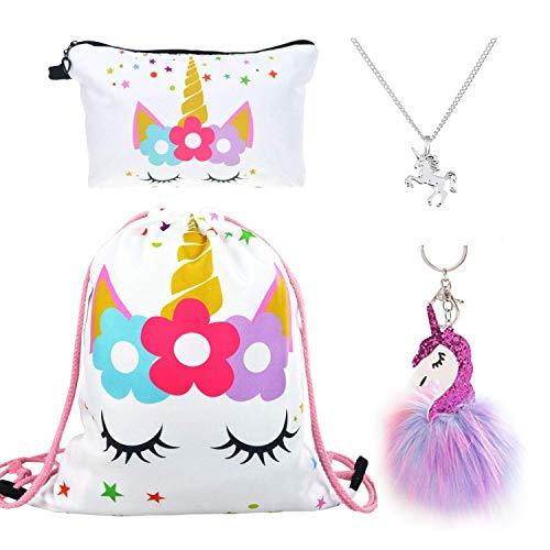 DRESHOW 4 Stück Süße EinhornGeschenke für Mädchen und Damen Einhorn Kordelzug Rucksack/Schminktasche/Legierung Kette Halskette/Flauschiger Anhänger Schlüsselanhänger Handtasche
