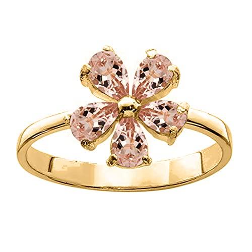 Shine Jewel ¡Anillo de Flores! 6X4 MM Pera Morganita Anillo de Cinco Piedras Preciosas de Plata 925 (Plata chapada en Oro Amarillo, 17)
