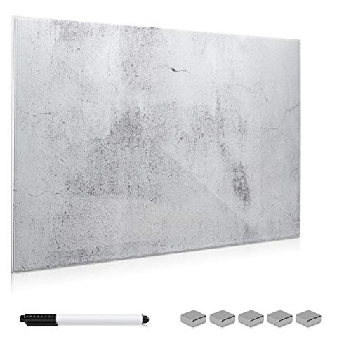 Navaris Magnettafel Memoboard aus Glas - Magnetwand 60x40 cm zum Beschriften - Magnetische Tafel inkl. Magnete Stift Halterung - Beton Optik Design