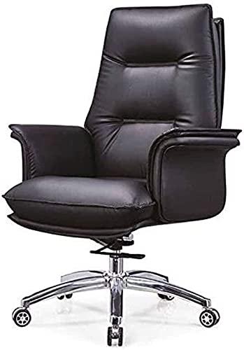 KMDJ Bossstuhl Leder Boss Stuhl Bürostuhl Leder Manager Executive Stuhl Drehstuhl Home Modern Minimalistische Präsidentschaftsstuhl (Color : Black)