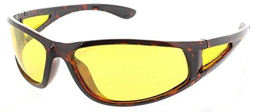 I-Sential Polarisierte Nachtsichtbrille Autofahren Schildkröte Braun, Gelben Gläser Nachtsicht Brille Sonnenbrille + Fall und Tuch
