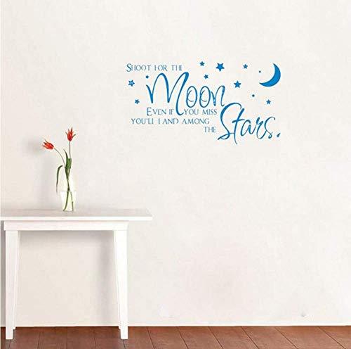Voor de maan, ook als je mist, kom je onder de sterren citaat muurdecoratie stickers voor schattige meisjes Rome82 x 44 cm.