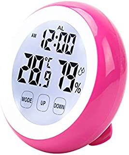 Renfengchui magnetisk pekskärm digital väckarklocka med termometer hygrometer temperatursensor luftfuktighetsmätare bord s...