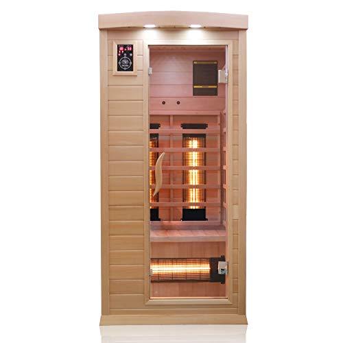 Dewello Infrarotkabine PIERSON 90x90 DUAL-THERM für 1 Person aus Hemlock Holz mit Vollspektrumstrahler