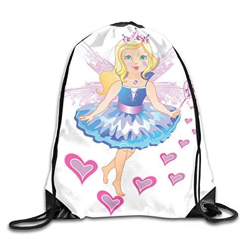 Princesa de hadas con vestido azul de pelo rubio varita mágica con corazones corona y alas con cordón mochila mochila de hombro bolsas de deporte gimnasio bolsa de viaje