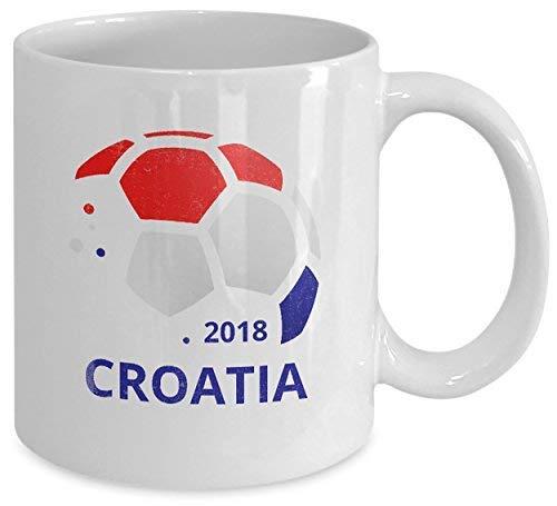 N\A Taza de café del Equipo de fútbol de Croacia Taza de té de cerámica Blanca. Regalo novedoso del Orgullo croata del fútbol Mundial. Juego de 1.