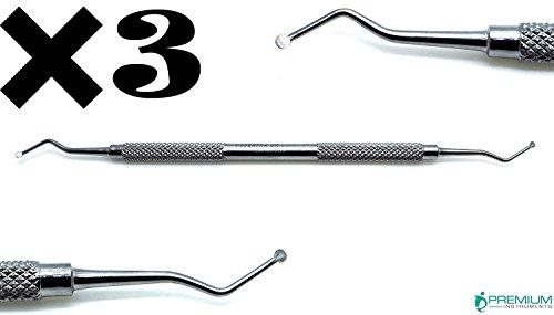 3 Pcs Dental Restorative Excavator 127/128, 2mm Spoon New Double Ended Instrument