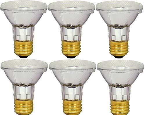Pack Of 6 39PAR20/FL 120V - 39 Watt High Output 50W Replacement (50Par20) PAR20 Narrow Flood - 120 Volt Halogen Light Bulbs for Indoor Recessed Can, Range Hood and Outdoor, E26 Base, 2700K Warm White