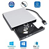 USB 3.0 External DVD CD Drive for Laptop, Portable Dual Layer 8X DVD+-RW DL DVD-RAM Burner for Windows 10 7 8 Lenovo HP Dell Samsung Acer Asus Sony Toshiba MSI Gaming Laptops Computer, White Plaid