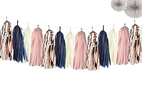 Autupy 20 PCS Navy Blue Rose Gold Tassels Garland Tissue Paper Tassels Banner DIY Kit for Baby Shower Navy Party Birthday Party Wedding Decorations