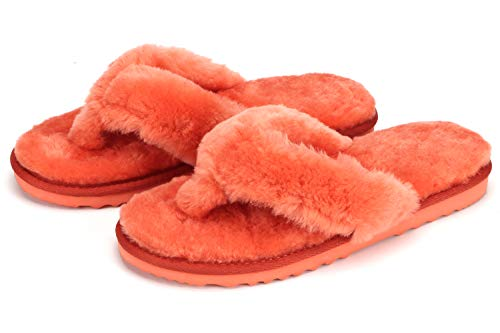 Se'renis Women's Thong Flip Flop Slippers with Genuine Australian Shearling Wool Lining and Insole