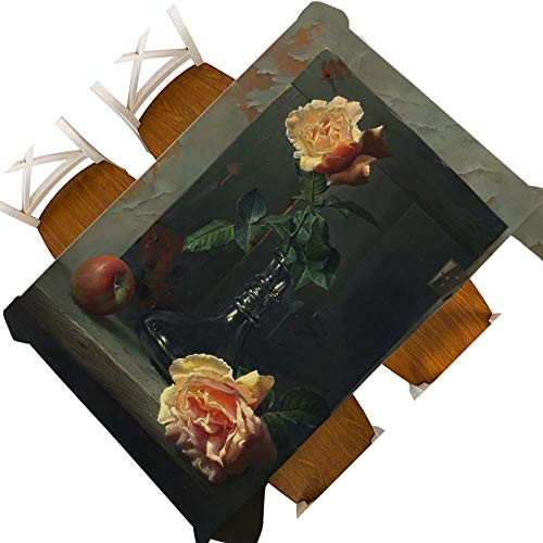 XXDD Creativo Europeo Bodegón Flor Fruta Pintura al óleo Impermeable Mantel Decorativo Cubierta Elegante Flor Tapiz de Pared Mantel A3 150x210cm