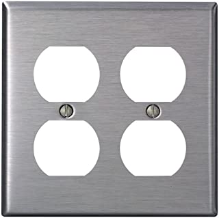 Leviton 84016-40 2-Gang, Duplex Device Receptacle Wallplate, Standard Size, Device Mount, Stainless Steel
