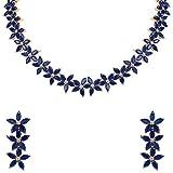 Ratnavali jewels Mujer Tono Dorado Rosa Zirconia cúbica Collar Blanco Pendientes Conjunto de Joyas Novias Bodas Fiesta
