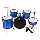 22inch 5 Piece Adults Drum Set, Les Ailes de la Voix Complete Full Size Adult's Drum Set Cymbal Child Kit with Stool Sticks Blue