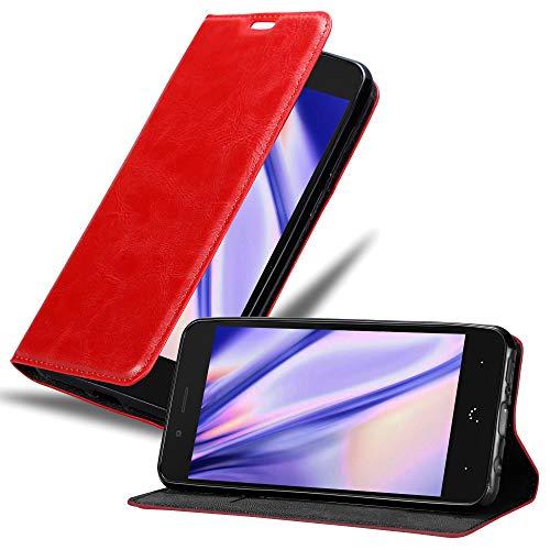 Cadorabo Hülle für BQ Aquaris X5 - Hülle in Apfel ROT – Handyhülle mit Magnetverschluss, Standfunktion & Kartenfach - Hülle Cover Schutzhülle Etui Tasche Book Klapp Style