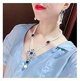 Collar de perlas de agua dulce natural para mujer + pendientes Set de circonitas rojas/verdes / azules Accesorios regalos de gama alta para cajas regalo para amigos
