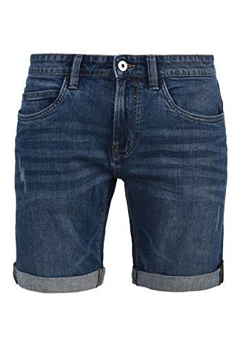 Indicode Quentin Herren Jeans Shorts Kurze Denim Hose Mit Destroyed-Optik Aus Stretch-Material Regular Fit, Größe:L, Farbe:Medium Indigo (869)