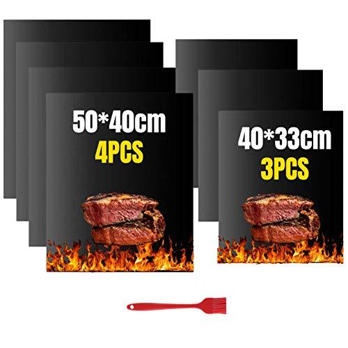 VLVEE Tappetino da Barbecue, BBQ Griglia Tappetini Set di 7 Mat Cottura BBQ Antiaderente Resistenti a Temperatura Alta Adatti per Griglia a Gas Carbone Forno e Griglia Elettrica