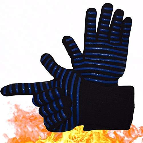 LYX® Oven Handschoenen, Silicone Hoge Temperatuur Anti-scalding Handschoenen Keuken Grill Magnetron Blauw