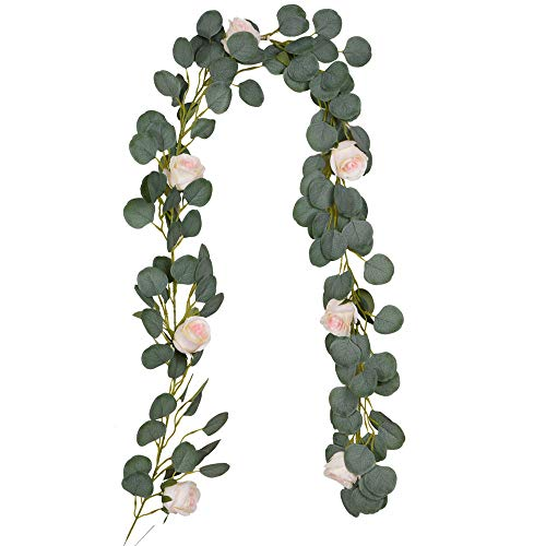 COSCHANO Artificial Eucalyptus Vines with Rose Flowers Faux Silk Eucalyptus Garland Rose Vines Eucalyptus Leaves Ivy Plants for Wedding Backdrop Arch Wall Birthday Party Indoor Table Home Room Decor