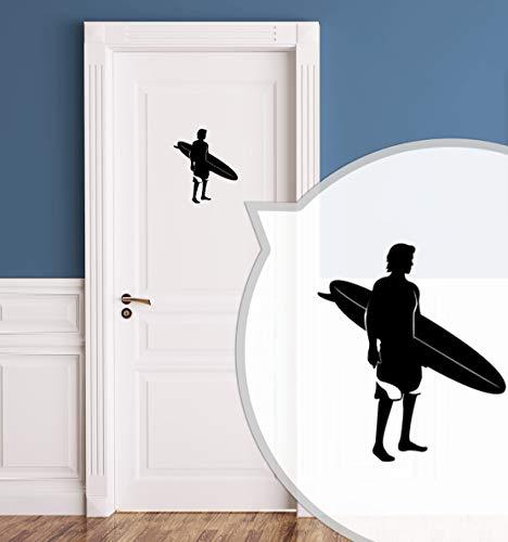 WC-Schild, Toilettenschild Surferboy selbstklebend, Herren, Schwarz, M