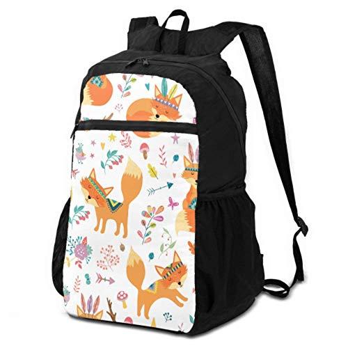 Daypacks Rucksäcke für Reisen niedlich Tribal beliebte Tiere für Kinder Reiserucksack Faltbarer Wanderrucksack Packbar Leicht Wasserdicht für Herren & Damen