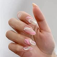 24 Pcs Press on Nails Short, Sunjasmine Fake Nails Almond Glue on Nails, Stiletto False Nails with Glue, Acrylic Nails for Women and Girls (Set 16)