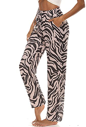 ARRIVE GUIDE Womens Active Yoga Pants Loose Comfy Lounge Pants Soft Pajamas Casual Workout Running Sweatpants High Waist Drawstring with Pockets Zebra Print L