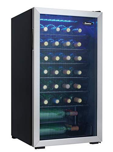 Danby DWC036A1BSSDB-6 3.3 Cu. Ft. Free Standing Wine Cooler, Holds 36 Bottles, Single Zone Fridge With Glass Door - Chiller for Kitchen, Home Bar, Black/Grey