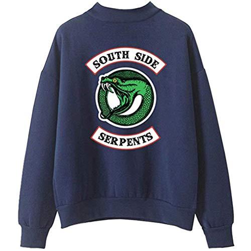 Yesgirl Herren Casual Sweatshirt mit Drucken auf Riverdale Southside Serpents Unisex Rollkragenpullover Hoodie Fashion Jumper C Blau B X-Large