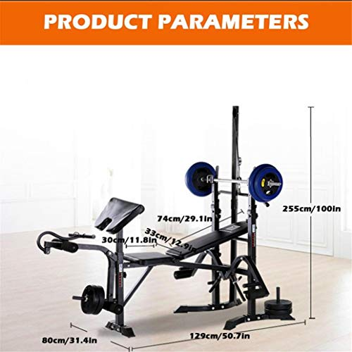 HADST 7-in-1 Multifunction Home Gym System Equipment,Pulley Fly Station,Preacher,Olympic Weight Bench, Leg Developer, Arm Press, Weight Training Exercise Workout Equipment, Fitness Strength Training
