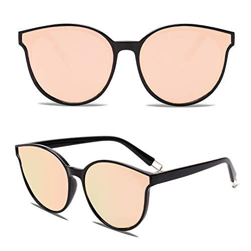 SOJOS Runde Sonnenbrille Damen UV-Schutz Groß Fashion Design SJ2057 mit Schwarz Rahmen/Rosa Verspiegelte Linse