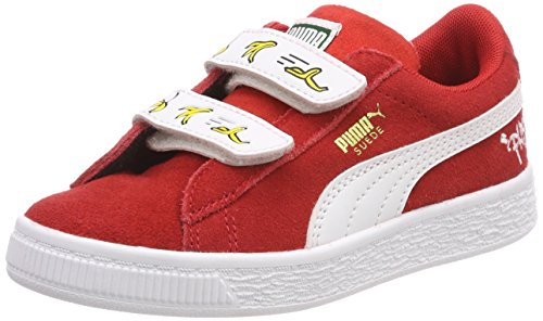 Puma Unisex-Kinder Minions Suede V PS Sneaker, Rot (High Risk Red White), 33 EU