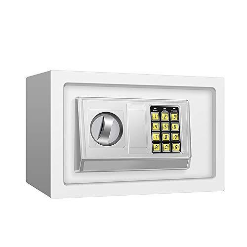 ZZHBXG Tresore Anti-Diebstahl-Schließfach, Einfache Passwörter Box mit Schloss Banknoten Piggy Bank Hausratversicherung Box Stahl, 3 Farben Sicherer Schrank (Farbe : Weiß)