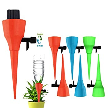 OZMI Plant Self Watering Spikes Devices 6 Pack Automatic Irrigation Equipment Plant Waterer with Slow Release Control Valve Adjustable Water Volume Drip System for Home and Vacation Plant Watering