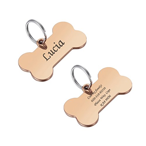 Valyria Stainless Steel Custom Engraved Rose Gold Bone Pet ID Tags for Large Dogs 29mmx50mm(1 1/8' x 1')