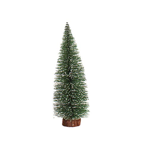 Fine Mini Artificial Christmas Tree, Stick with Wooden Holder White Cedar Desktop Small Christmas Tree Xmas Party Decoration Festival DIY Home Decor (Green, 20CM)
