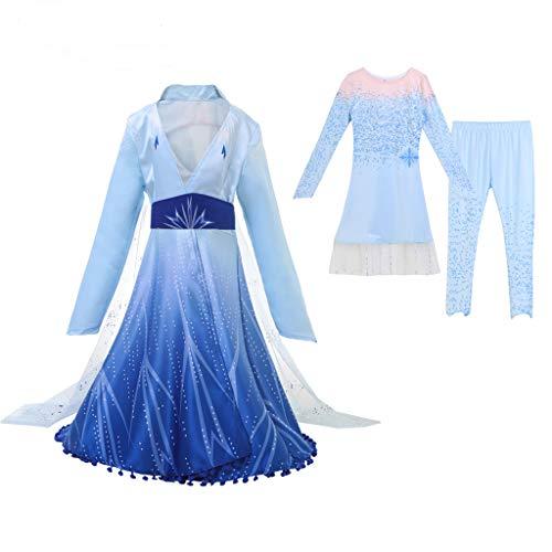 Amycute 3 Piezas Set de Disfraz de Princesa Elsa, Elsa Princesa Vestido, Princesa Frozen Elsa Disfraz de Cosplay de Reino de Hielo para Navidad,Fiesta Cumpleaños (Longitud38.8in;Altura 46in- 50in)