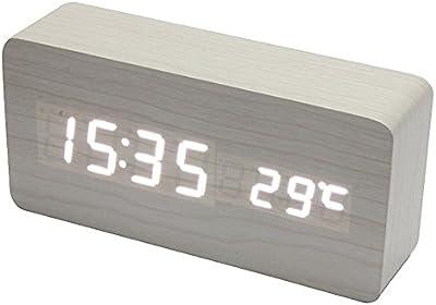 Shuangklei Pantalla De Control De Sonidos De Temperatura Led Reloj Despertador De Sobremesa Electrónica