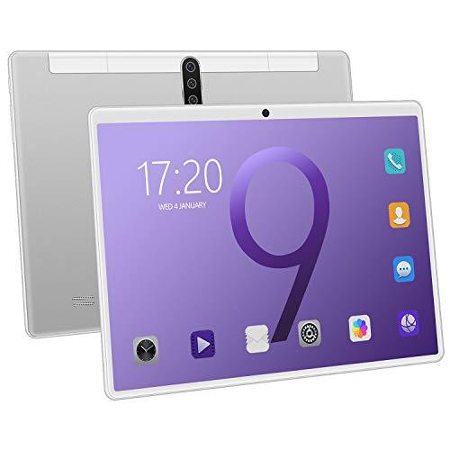 Lopbinte Tablet PC Pantalla de 10 Pulgadas HD Tabletas de Llamadas de TeléFono Android 3G Tarjetas de Doble SIM Tableta de 10 Pulgadas Plateado Enchufe de la UE