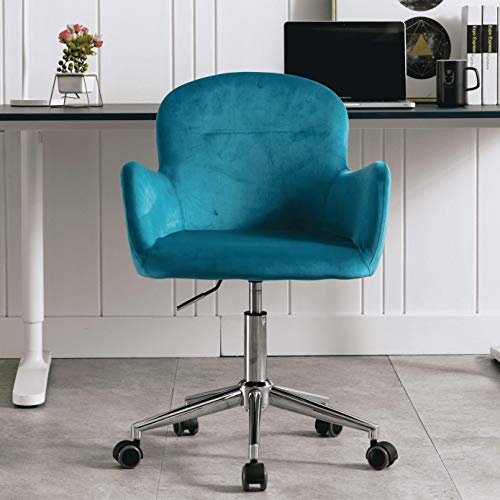 Velvet Accent Chair, Adjustable Swivel Armchair, Desk Chair, Makeup Chair with Casters, Lake Blue
