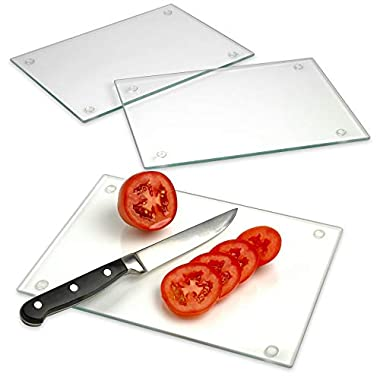Rectangle Tempered Glass Cutting Board Set of 3 – 10 inch x 7 inch – Long Lasting Clear Glass – Scratch Resistant, Heat Resistant, Shatter Resistant, Dishwasher Safe.