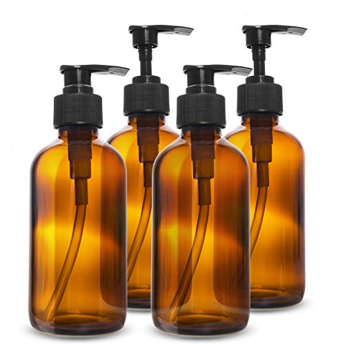 Gonioa 8Ounce Glass Pump BottlesPump Press BottlesGlass Soap DispenserAmber Boston Round Bottles with Black PumpsRefillable Containers Great for ShampooEssential OilLotion Soap etcPack of 4