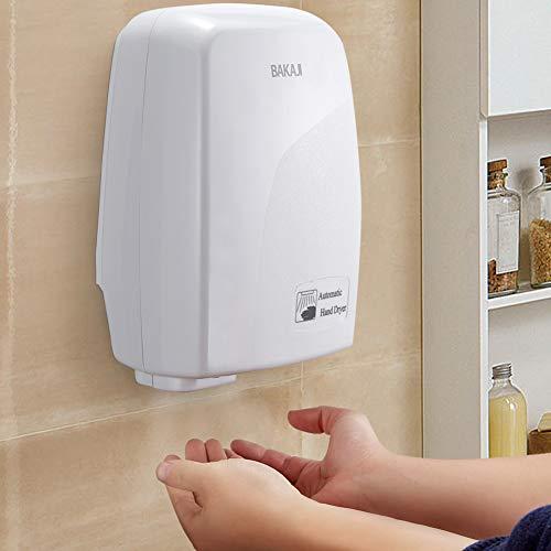 BAKAJI Asciugamani Automatico Elettrico Hotel Asciuga Mani ad Aria Calda da Parete Bagno con Sensore Fotocellula (1000 Watt)
