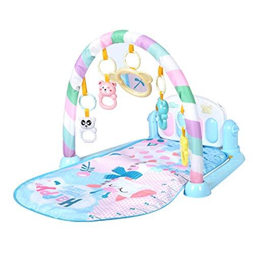 Piano-gym baby speelboog, kinderpedaal piano baby mat fitness rek muziekdeken, multifunctioneel muziektoetsenbord speelgoed blauw