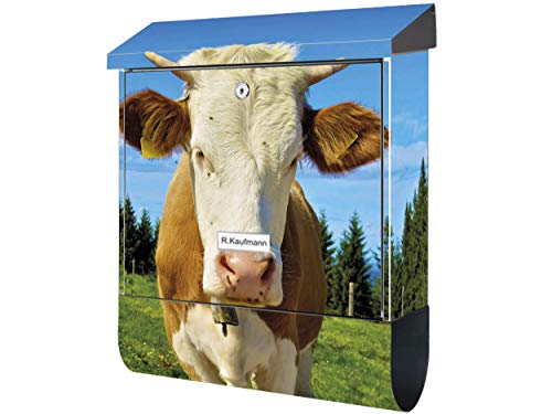 KlebeSpatz® Motiv Wand Briefkasten Premium mit Zeitungsfach Zeitungsrolle für C4 Kuh braun weiß