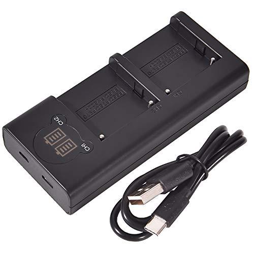DSTE デュアル バッテリー 充電器 Sony NP-F330 NP-F550 NP-F570 NP-F750 NP-F770 NP-F930 NP-F950 NP-F970 NP-FM50 NP-FM55H NP-FM500H など対応