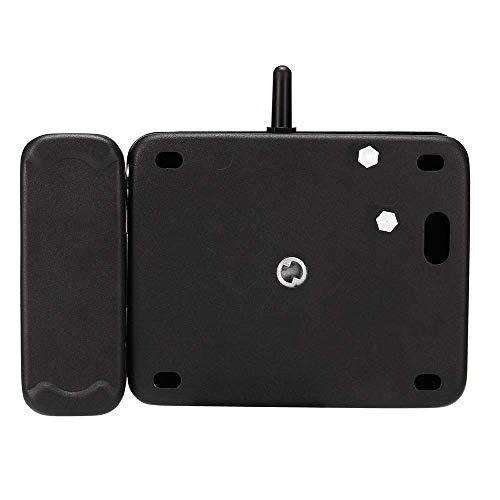 MLOZS Cerradura de puerta con control remoto multifunción inalámbrico antirrobo, sistema de control Bluetooth, palanca de puerta (color: negro, tamaño: talla única)