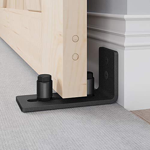 EaseLife Sliding Barn Door Bottom Floor Guide,Adjustable Roller,Wall Mount System,Flush Flat Bottom Design,2 Assemble Setup Options,Fit All Size Door,Black